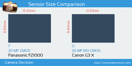 Panasonic FZ1000 vs Canon G3 X Sensor Size Comparison