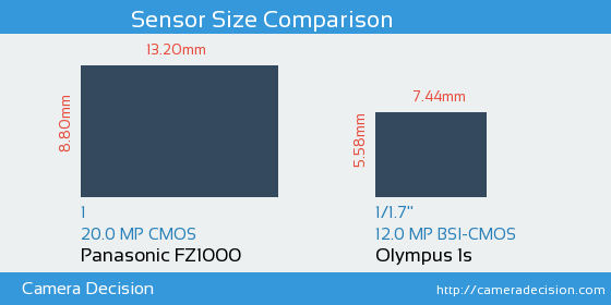 Panasonic FZ1000 vs Olympus 1s Sensor Size Comparison