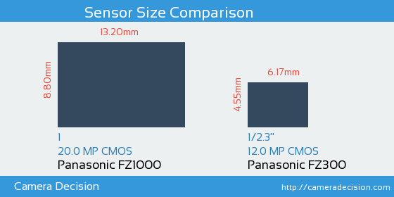 Panasonic FZ1000 vs Panasonic FZ300 Sensor Size Comparison