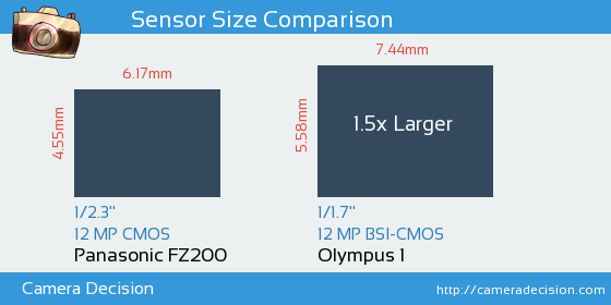 Panasonic FZ200 vs Olympus 1 Sensor Size Comparison