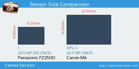 Panasonic FZ2500 vs Canon M6 Sensor Size Comparison
