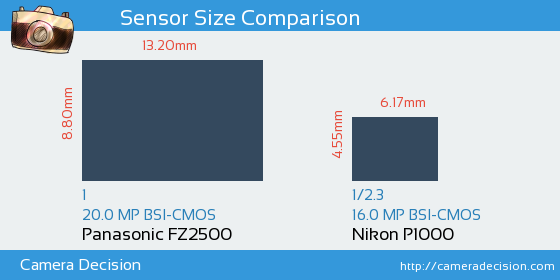 Panasonic FZ2500 vs Nikon P1000 Sensor Size Comparison