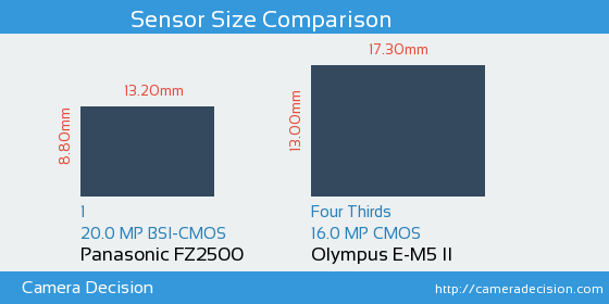 Panasonic FZ2500 vs Olympus E-M5 II Sensor Size Comparison