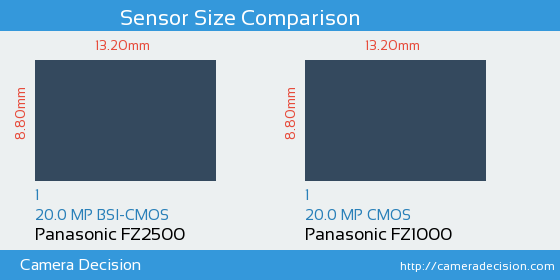 Panasonic FZ2500 vs Panasonic FZ1000 Sensor Size Comparison