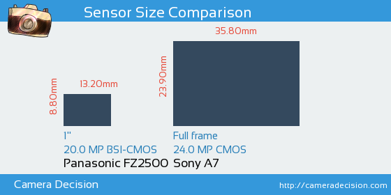 Panasonic FZ2500 vs Sony A7 Sensor Size Comparison