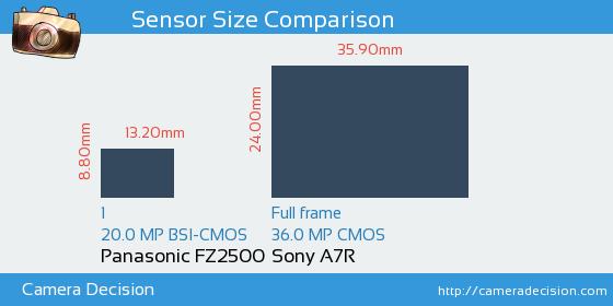 Panasonic FZ2500 vs Sony A7R Sensor Size Comparison