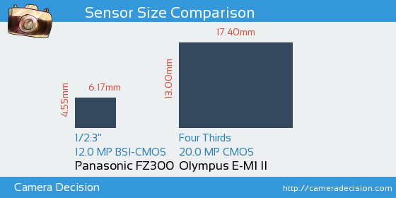 Panasonic FZ300 vs Olympus E-M1 II Sensor Size Comparison