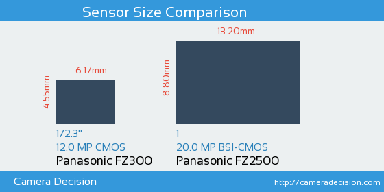 Panasonic FZ300 vs Panasonic FZ2500 Sensor Size Comparison