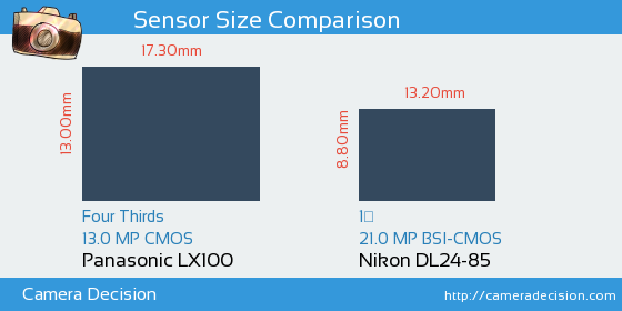 Panasonic LX100 vs Nikon DL24-85 Sensor Size Comparison
