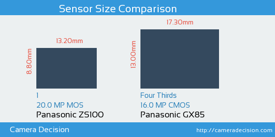 Panasonic ZS100 vs Panasonic GX85 Sensor Size Comparison