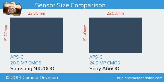 Samsung NX2000 vs Sony A6600 Sensor Size Comparison
