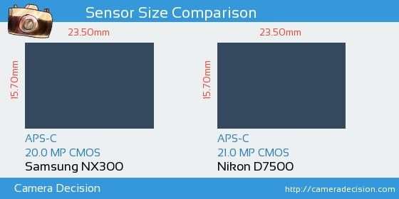 Samsung NX300 vs Nikon D7500 Sensor Size Comparison