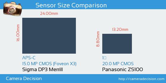 Sigma DP3 Merrill vs Panasonic ZS100 Sensor Size Comparison