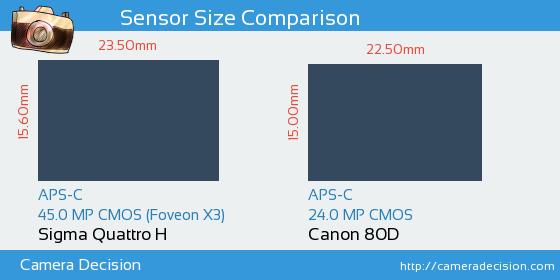 Sigma Quattro H vs Canon 80D Sensor Size Comparison