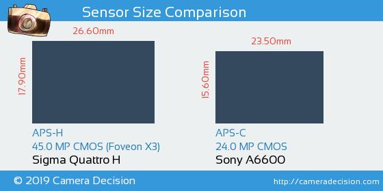 Sigma Quattro H vs Sony A6600 Sensor Size Comparison