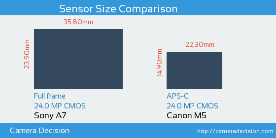 Sony A7 vs Canon M5 Sensor Size Comparison