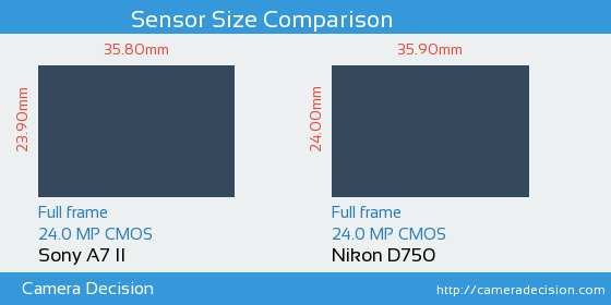 Sony A7 II vs Nikon D750 Sensor Size Comparison