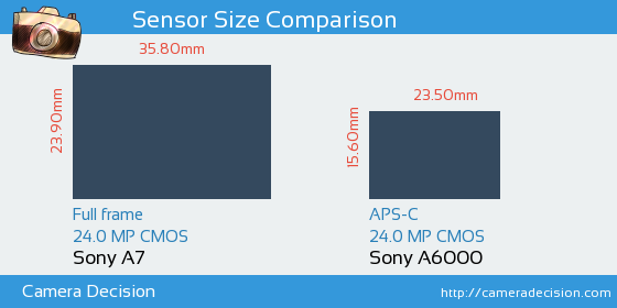 Sony A7 vs Sony A6000 Sensor Size Comparison