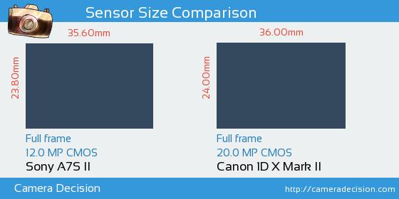 Sony A7S II vs Canon 1D X II Sensor Size Comparison