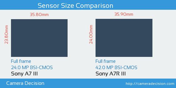 Sony A7 III vs Sony A7R III Sensor Size Comparison