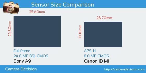 Sony A9 vs Canon 1D MII Sensor Size Comparison