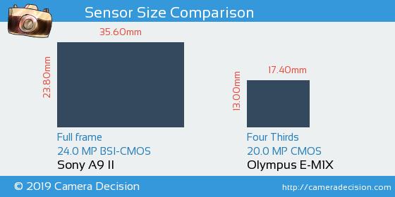 Sony A9 II vs Olympus E-M1X Sensor Size Comparison