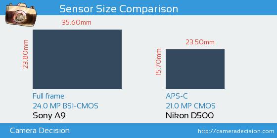 Sony A9 vs Nikon D500 Sensor Size Comparison