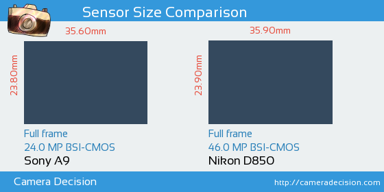 Sony A9 vs Nikon D850 Sensor Size Comparison