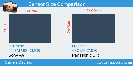 Sony A9 vs Panasonic S1R Sensor Size Comparison