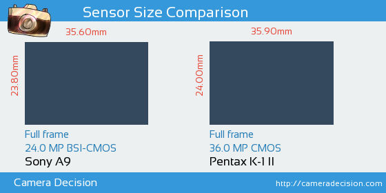 Sony A9 vs Pentax K-1 II Sensor Size Comparison