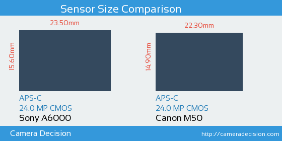 Sony A6000 vs Canon M50 Sensor Size Comparison