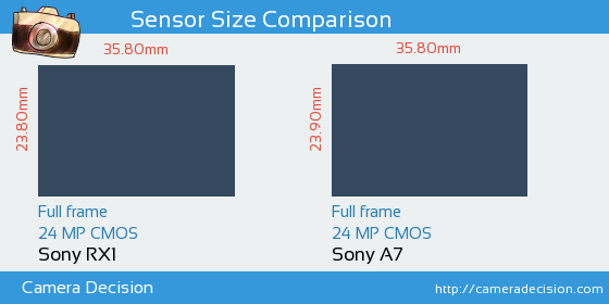 Sony RX1 vs Sony A7 Sensor Size Comparison