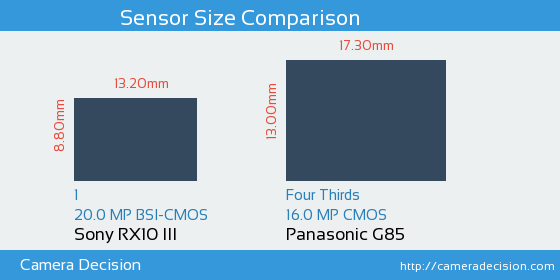 Sony RX10 III vs Panasonic G85 Sensor Size Comparison