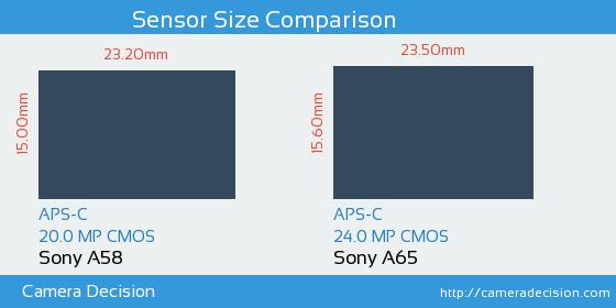 Sony A58 vs Sony A65 Sensor Size Comparison