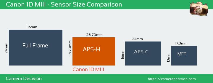 Canon 1D MIII Sensor Size Comparison