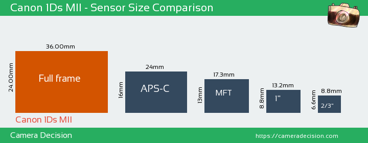 Canon 1Ds MII Sensor Size Comparison