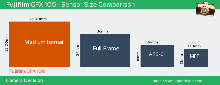 Fujifilm GFX 100 Sensor Size Comparison