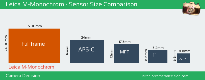 Leica M-Monochrom Sensor Size Comparison