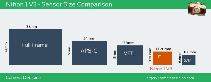 Nikon 1 V3 Sensor Size Comparison