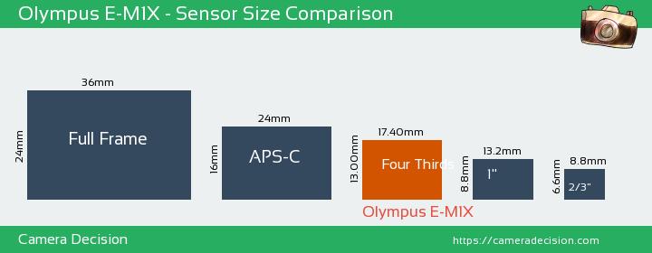 Olympus E-M1X Sensor Size Comparison