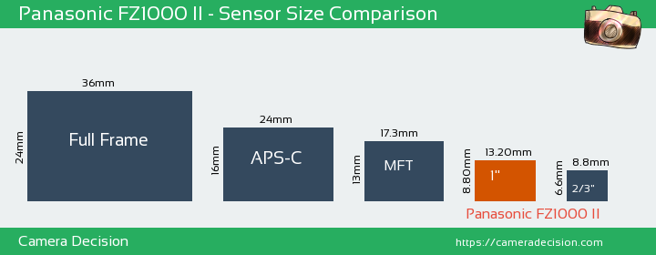 Panasonic FZ1000 II Sensor Size Comparison