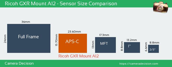 Ricoh GXR Mount A12 Sensor Size Comparison
