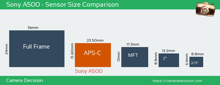 Sony A500 Sensor Size Comparison