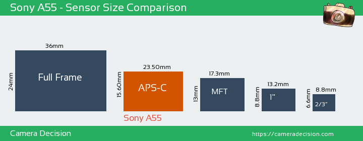 Sony A55 Sensor Size Comparison