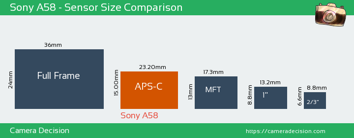Sony A58 Sensor Size Comparison