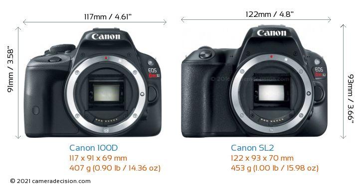 Canon 100D vs Canon SL2 Camera Size Comparison - Front View