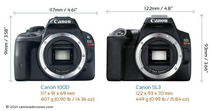Canon 100D vs Canon SL3 Camera Size Comparison - Front View