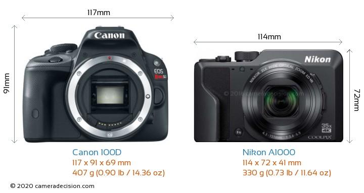 Canon 100D vs Nikon A1000 Camera Size Comparison - Front View