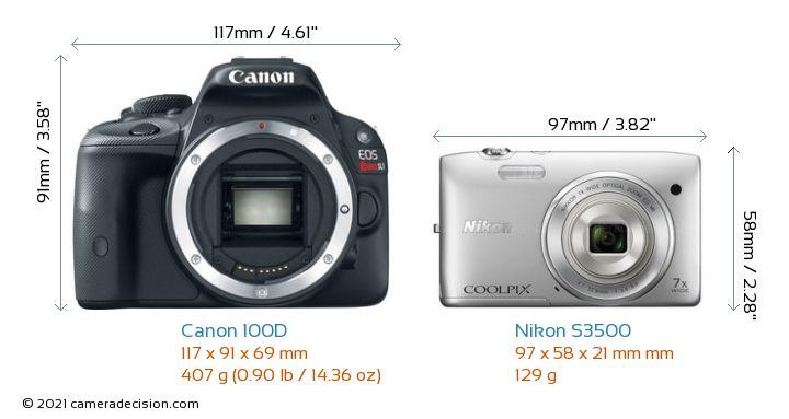 Canon 100D vs Nikon S3500 Camera Size Comparison - Front View