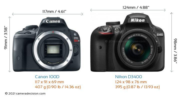 Canon 100D vs Nikon D3400 Camera Size Comparison - Front View